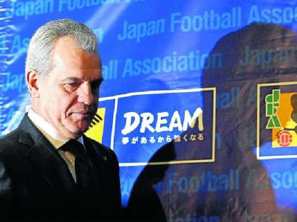 Aguirre en la Asociación de Fútbol de Japón en Tokio, escenario ayer de la rueda de prensa.