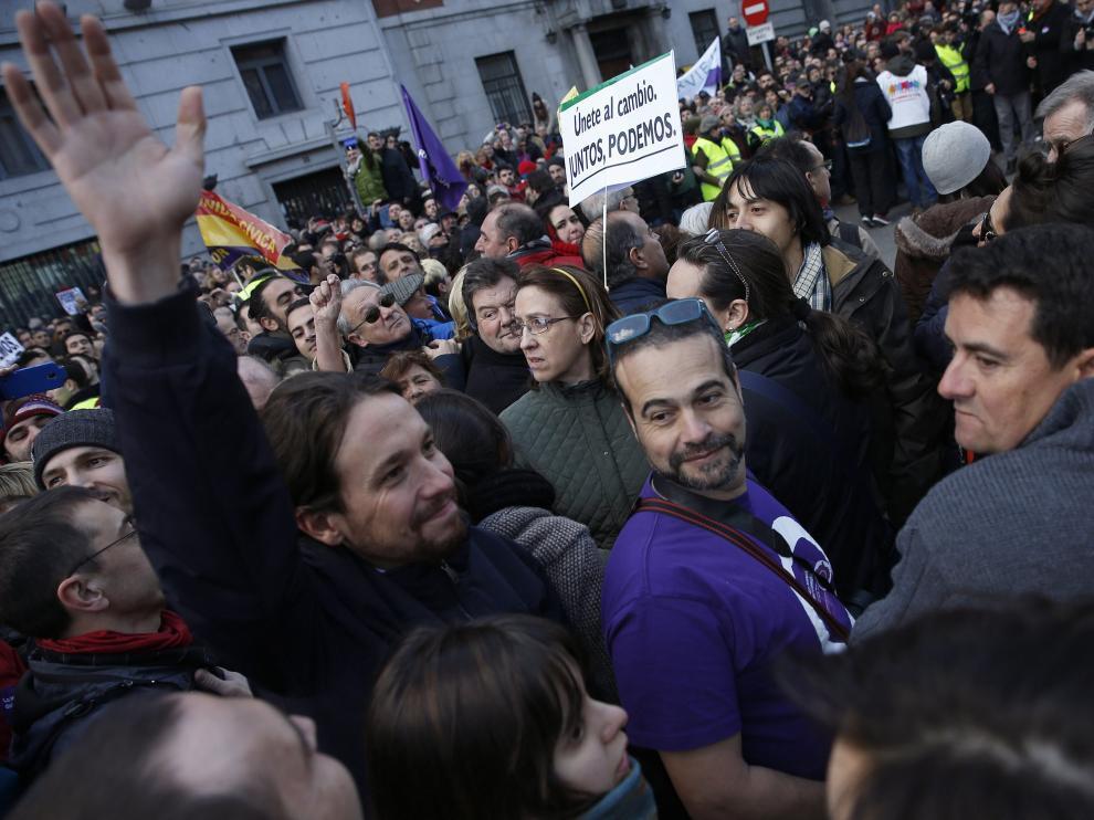 """El líder de Podemos, Pablo Iglesias, durante la """"marcha del cambio"""" el pasado fin de semana"""