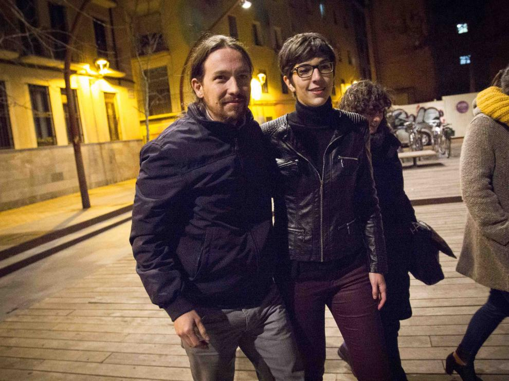 Pablo Iglesias y Violeta Barba en Zaragoza