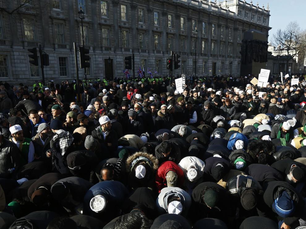 Manifestación de musulmanes en Londres este domingo