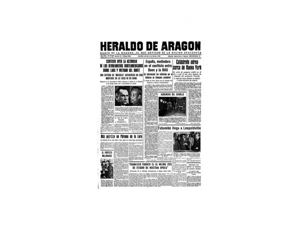 Portada de HERALDO el día 10 de febrero de 1965
