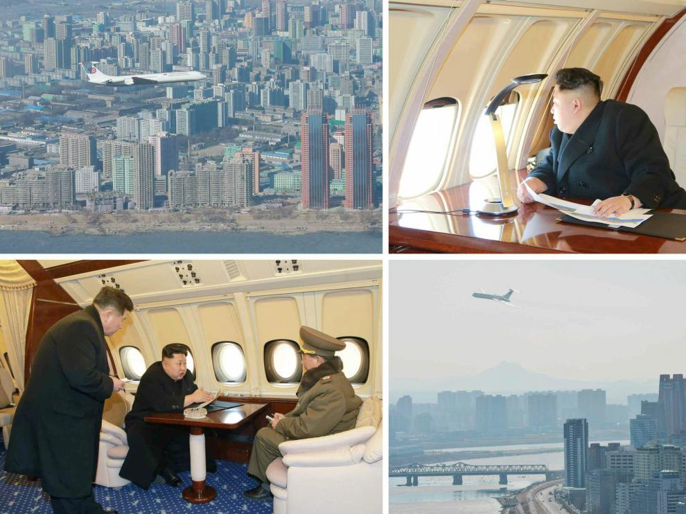 Kim Jong-Un en su nuevo avión privado