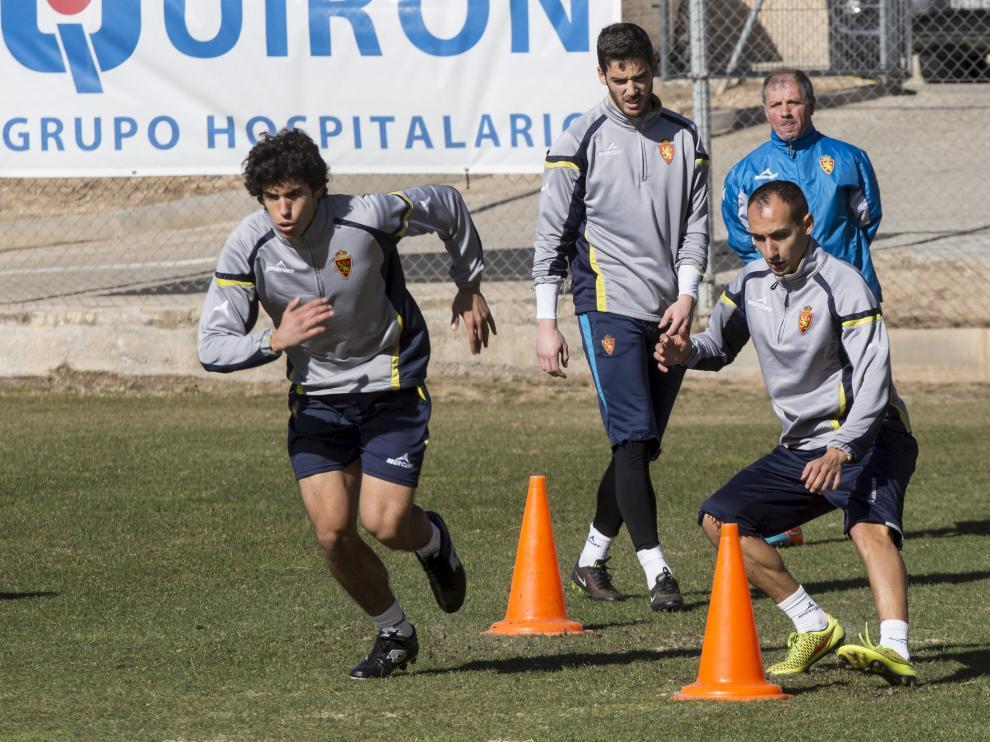 Natxo Insa, junto a Vallejo, en un entrenamiento