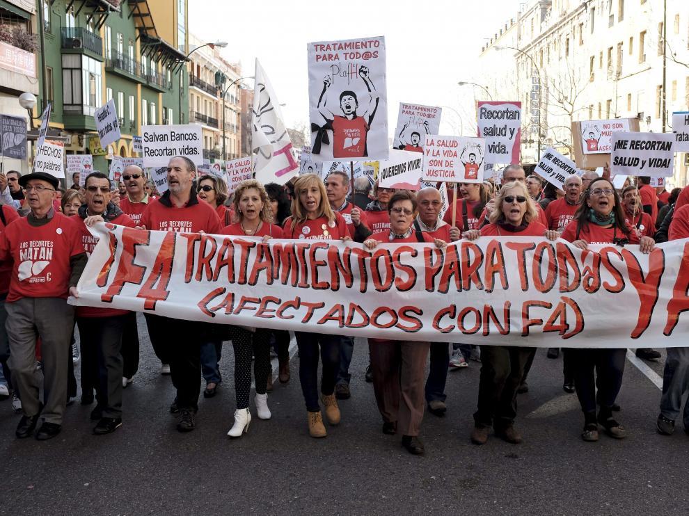 Imagen de archivo de una manifestación de afectados por la Hepatitis C.