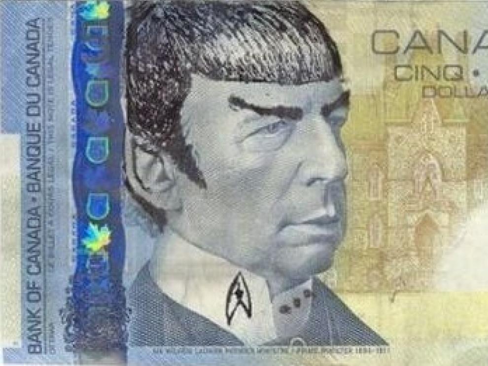 Un billete de cinco dólares canadienses