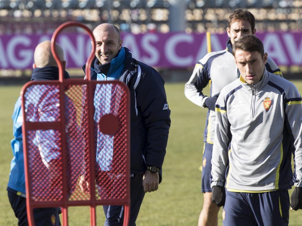 Eldin, junto a Popovic, en un entrenamiento del Real Zaragoza