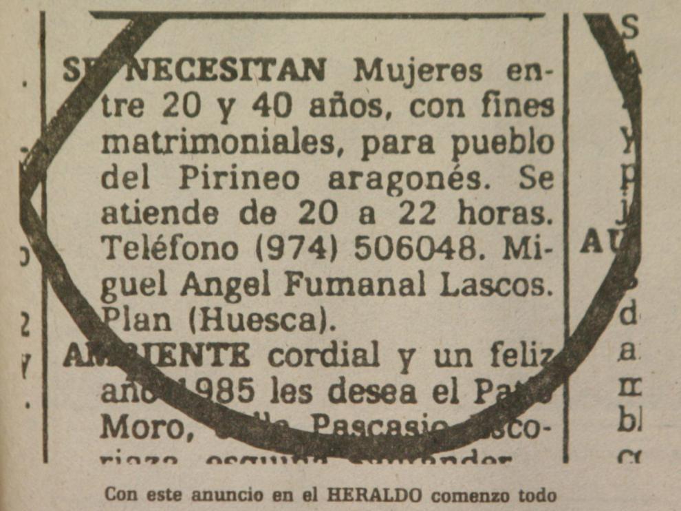 Anuncio publicado en Heraldo de Aragón, en 1985