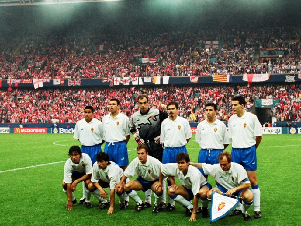 El once inicial de la final de la Recopa de 1995