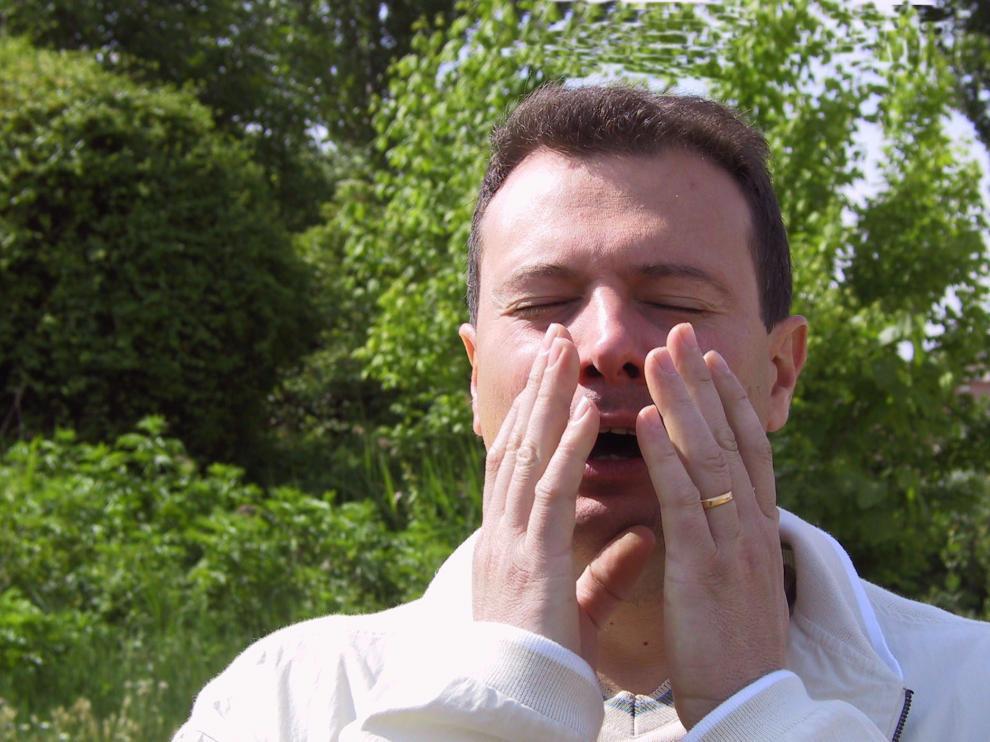 Un hombre estornudando a causa de la alergia al polen.