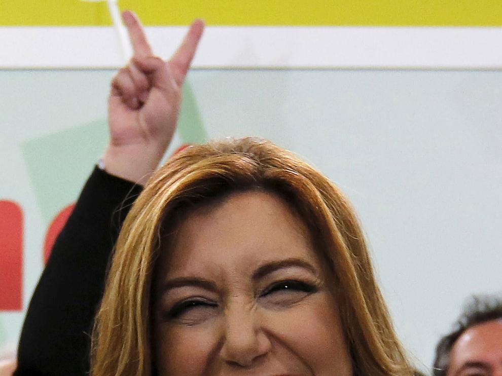 Susana Díaz, contenta con el voto de los andaluces y la mayoría amplia de su partido