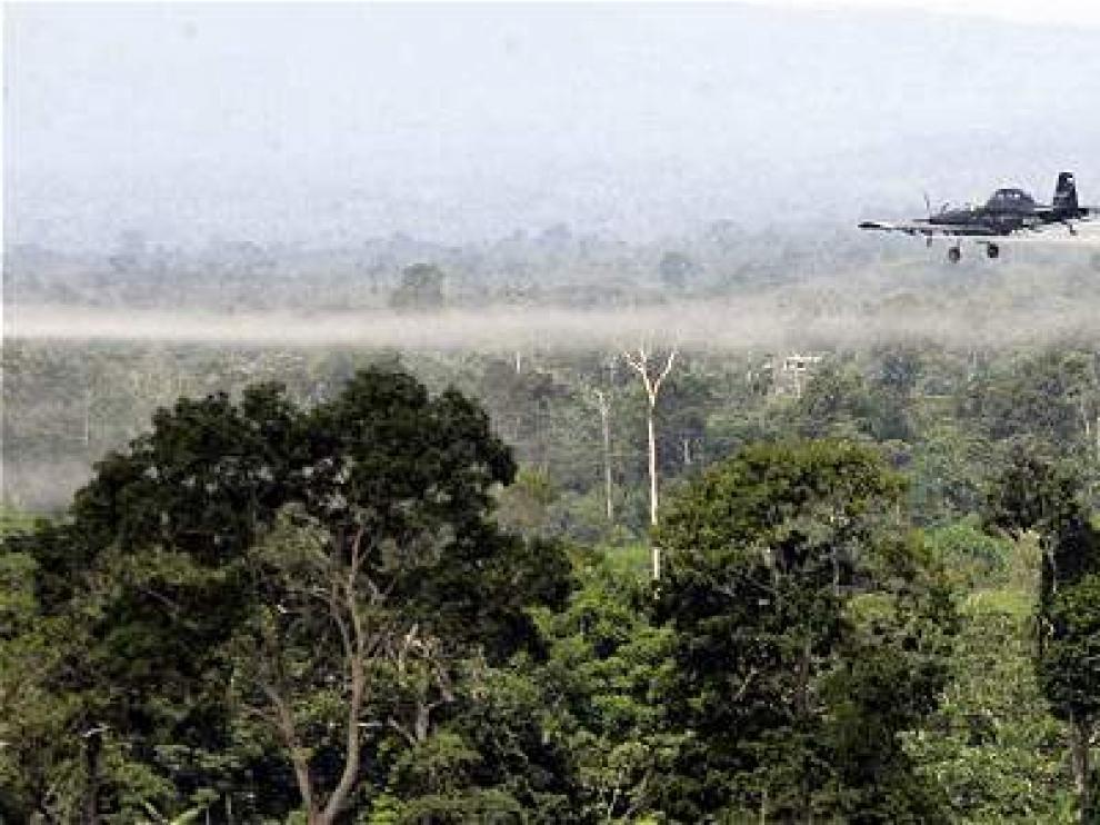 Una avioneta fumiga con glifosato unos campos de cultivo en Colombia
