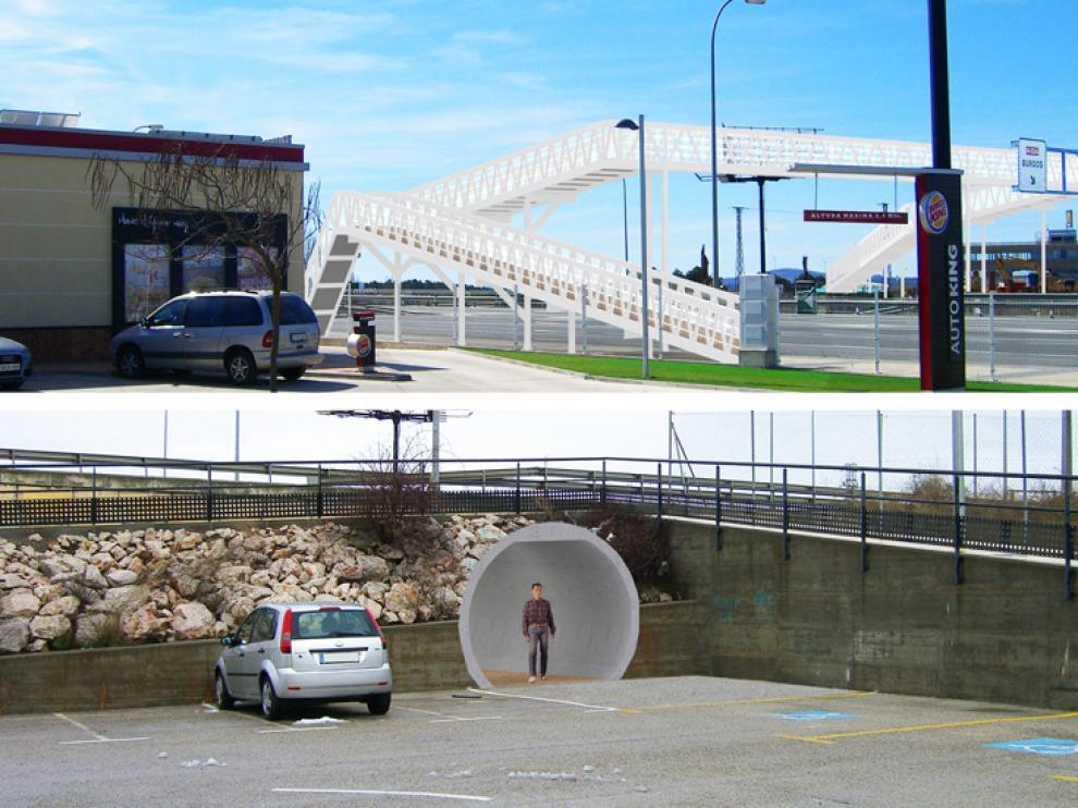 Inicialmente la propuesta para la segunda parte del proyecto contemplaba o bien otra pasarela o un túnel