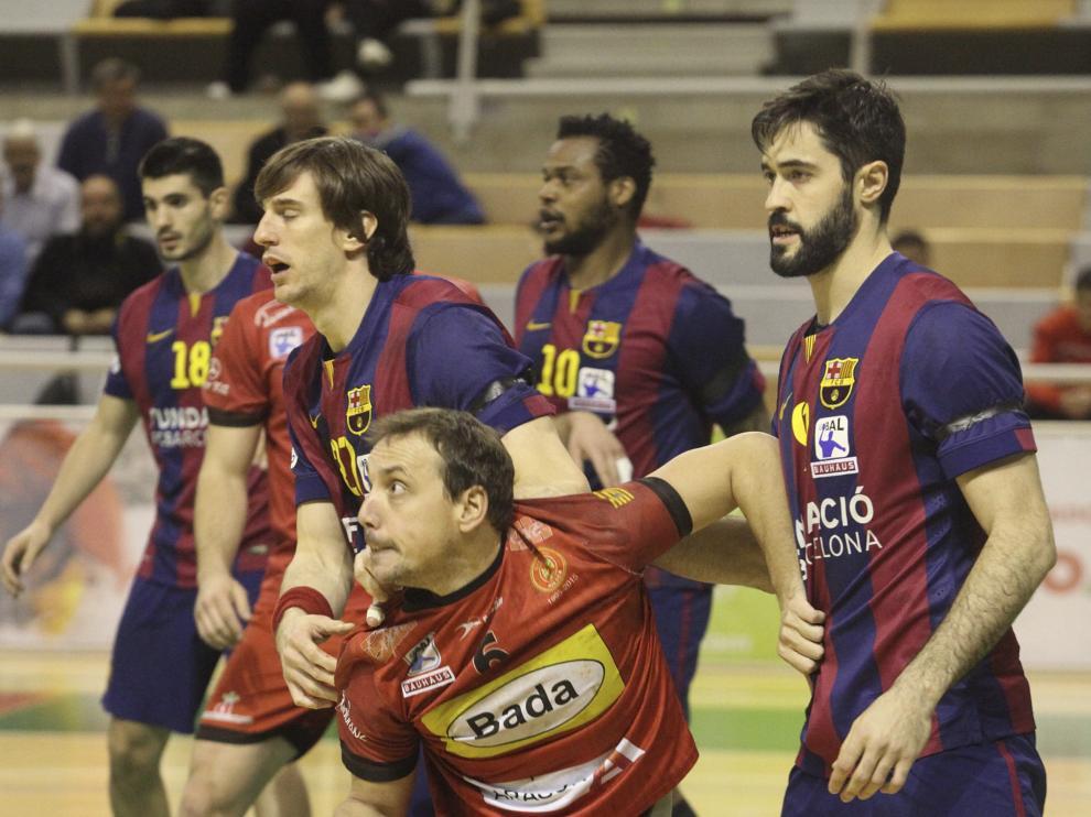 Una imagen del partido del Bada contra el Barça
