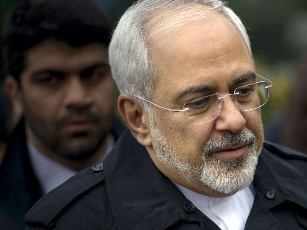 El ministro de asuntos exteriores de Irán Javad Zarif durante la reunión de este miércoles