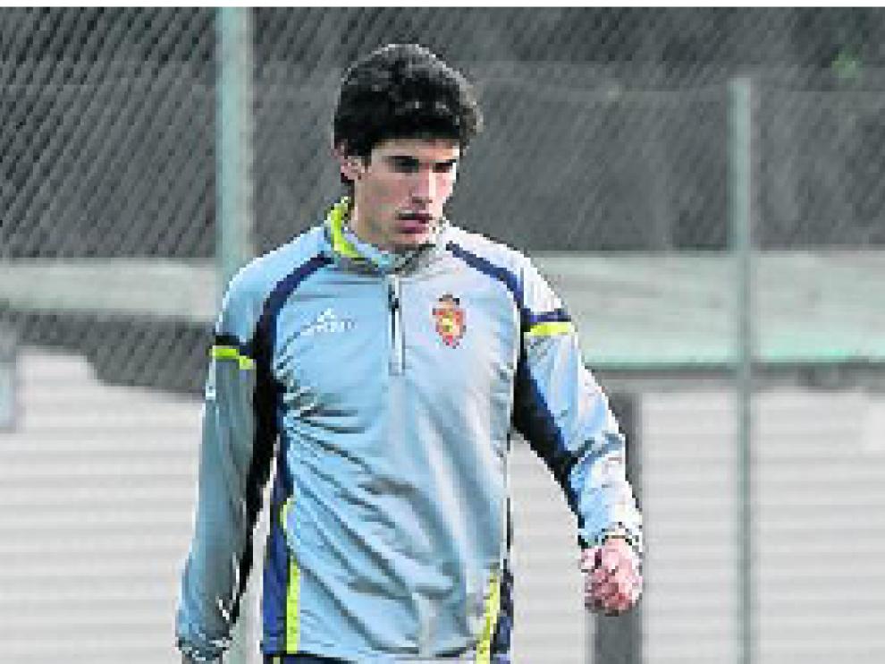 Vallejo, en un entrenamiento del Real Zaragoza.