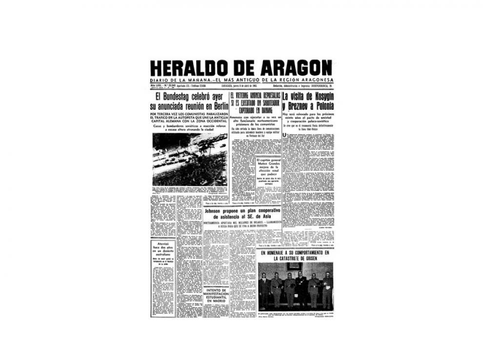 Portada de HERALDO el día 8 de abril de 1965