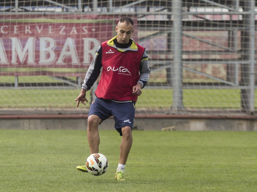 Natxo Insa, durante un entrenamiento del Real Zaragoza