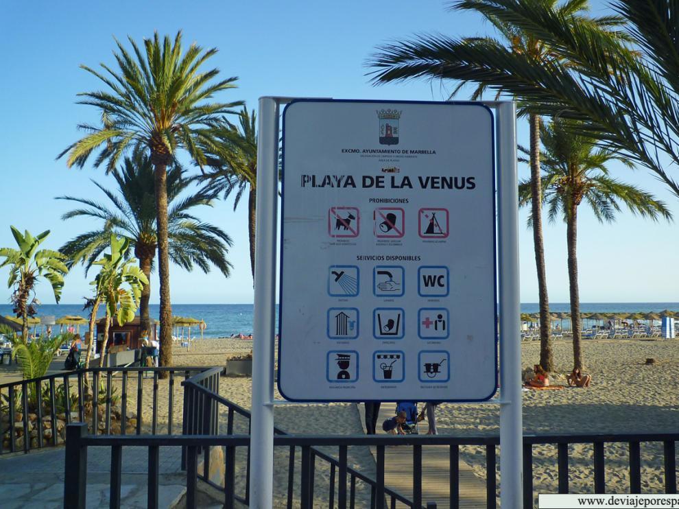 Playa de La Venus, una de las más céntricas de Marbella