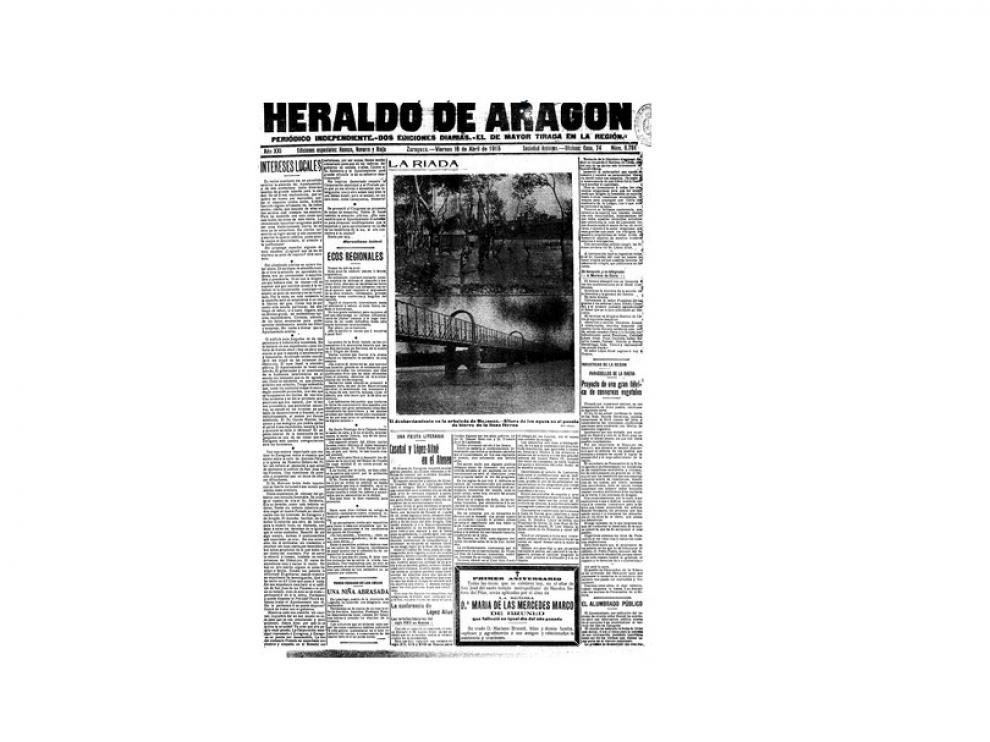 Portada de HERALDO el día 16 de abril de 1915