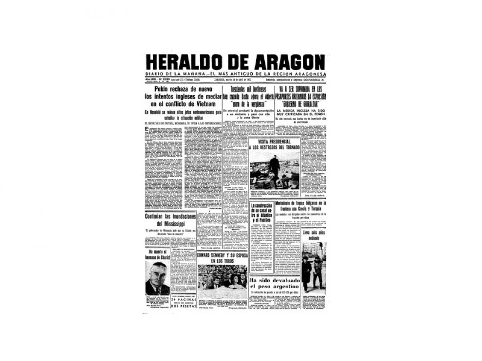 Portada de HERALDO el día 20 de abril de 1965