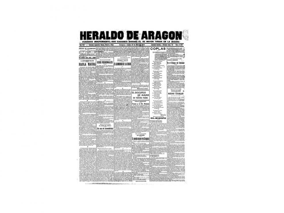 Portada de HERALDO el día 22 de abril de 1915