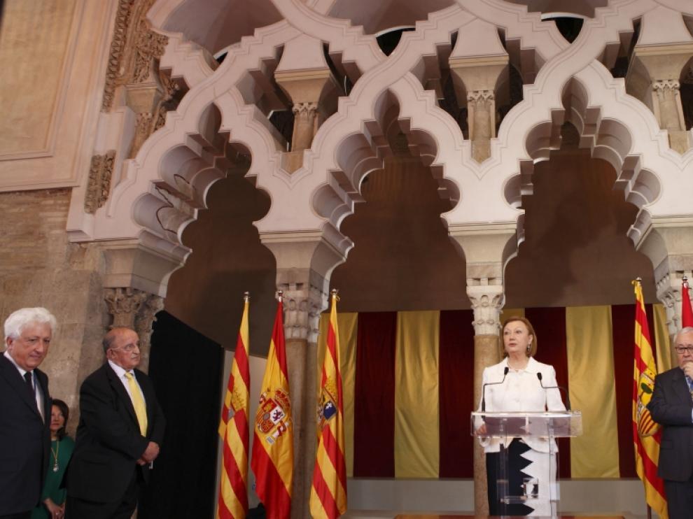 Rudi durante su discurso en La Aljafería