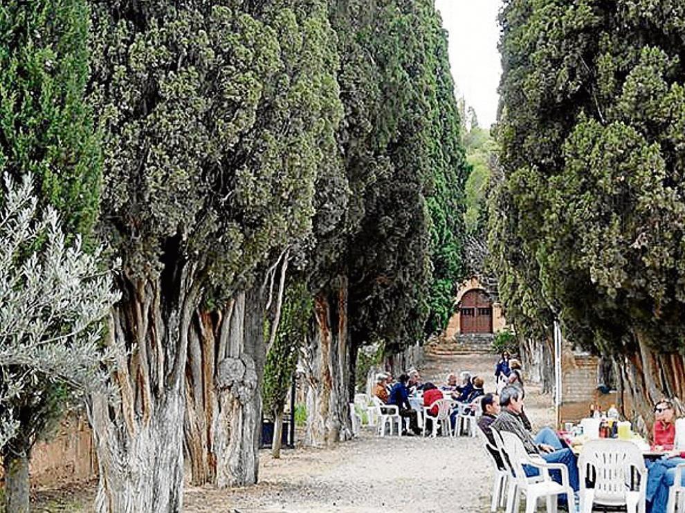 La fiesta del año pasado se celebró junto a los cipreses del Calvario, en Alloza.