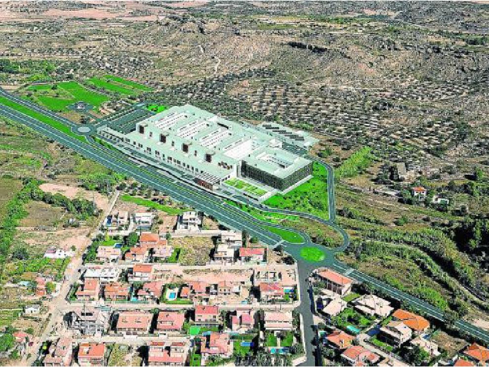 Recreación virtual del futuro hospital de Alcañiz, que se levantará en el paraje Cantagallos.