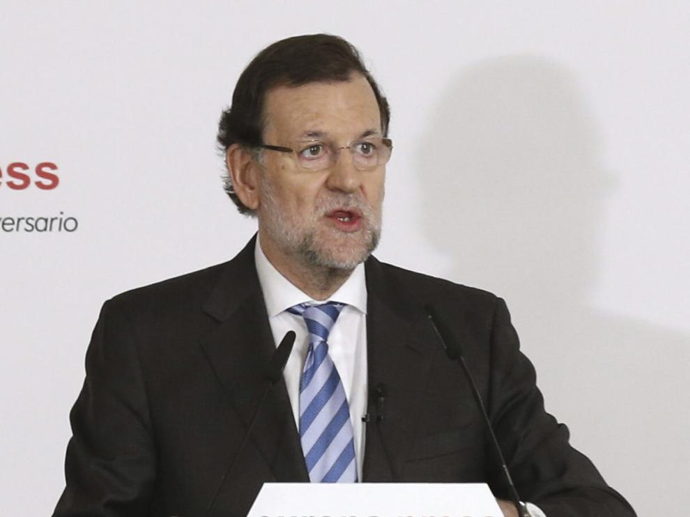 El presidente del Gobierno, Mariano Rajoy, durante su participación en un desayuno informativo