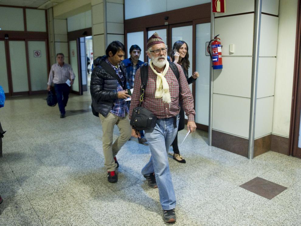 Luis Laín a su llegada a Barajas.