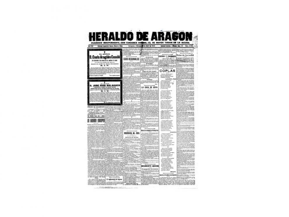 Portada de HERALDO el día 30 de abril de 1915