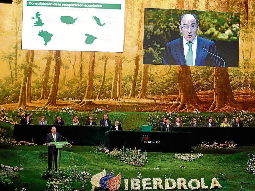 Intervención del presidente de Iberdrola, Ignacio Sánchez Galán, ayer en la junta de accionistas.