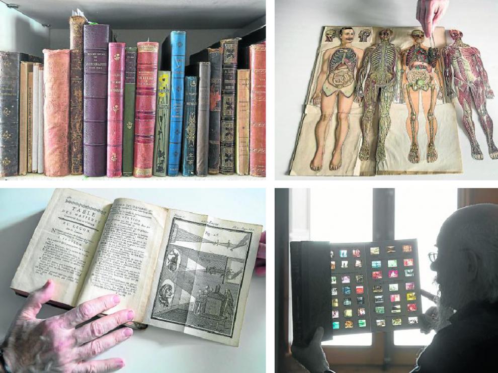 Inventario de joyas visuales y tipográficas: libros clásicos, bellamente encuadernados; los pop-up; manuales de proyección y una colección de películas fotográficas.