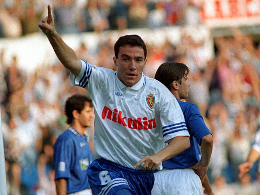 Aguado, durante su etapa como jugador del Real Zaragoza