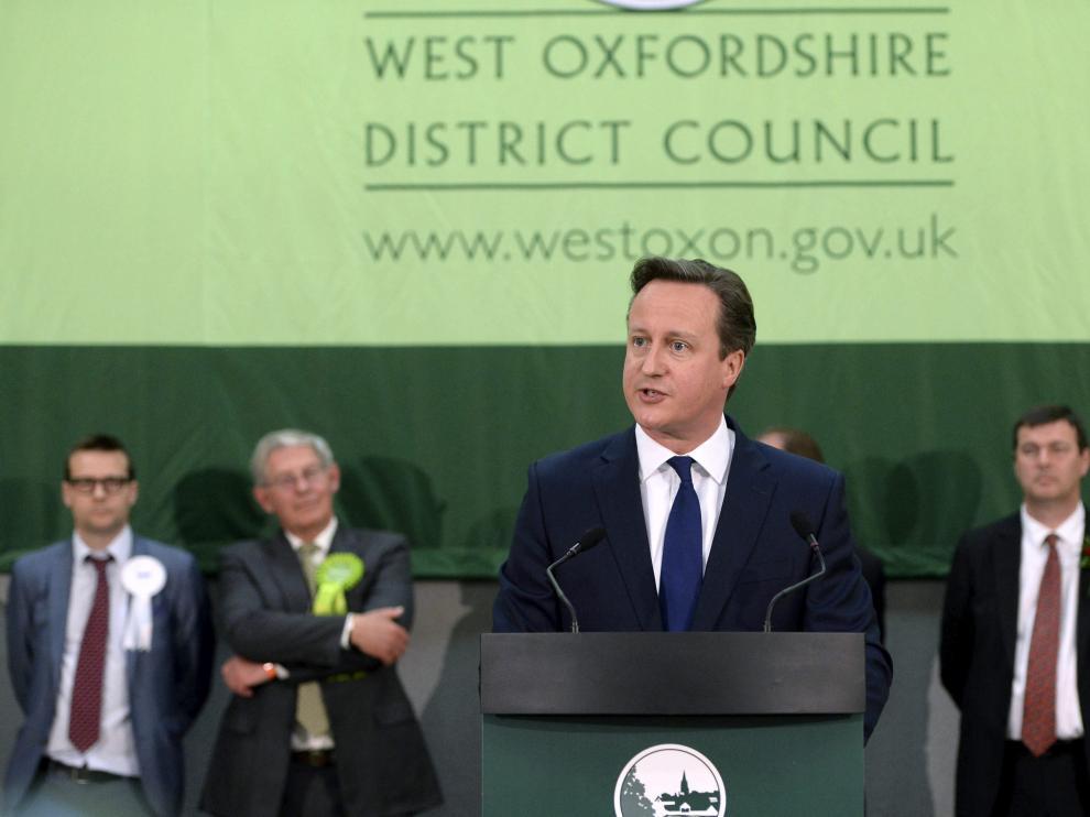 El primer ministro británico, David Cameron, ofrece un discurso en Witney.