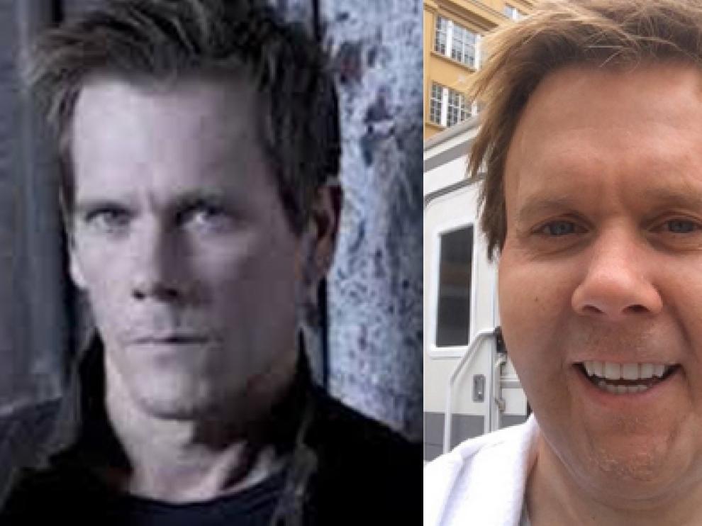 El rostro habitual y el peculiar 'selfie' de un Kevin Bacon con más kilos