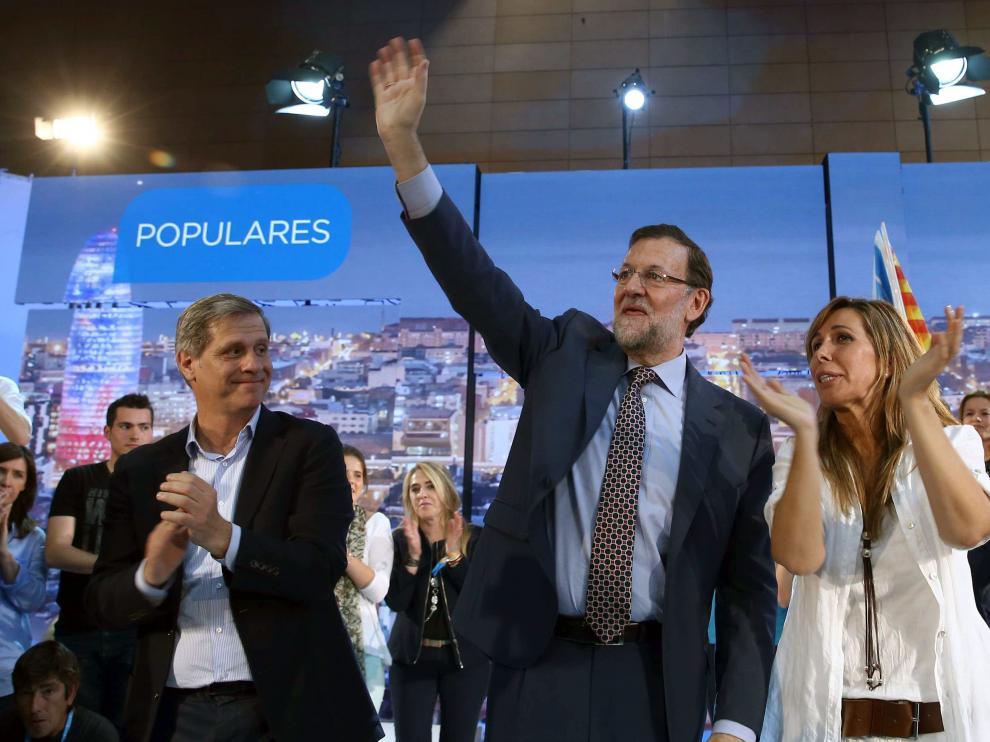Rajoy durante el mitin en Barcelona