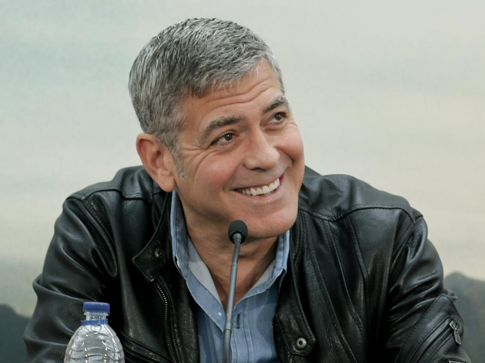 """El actor George Clooney, en Valencia durante la presentación de su última película, """"Tomorrowland""""."""