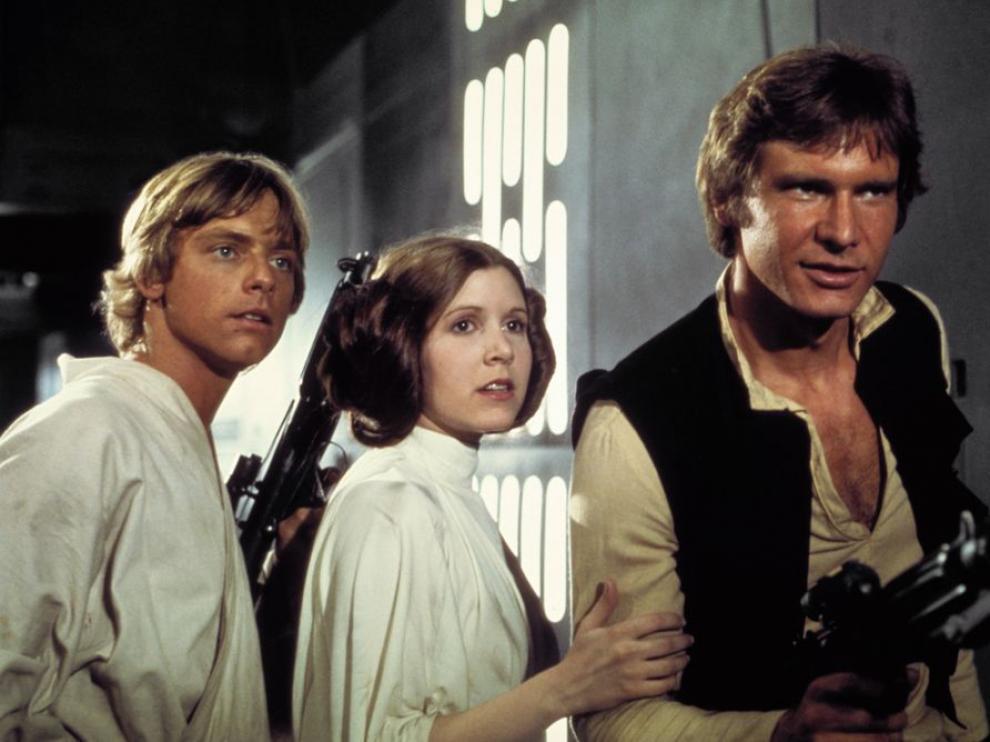 Luke, Leia y Han Solo en una escena de Star Wars