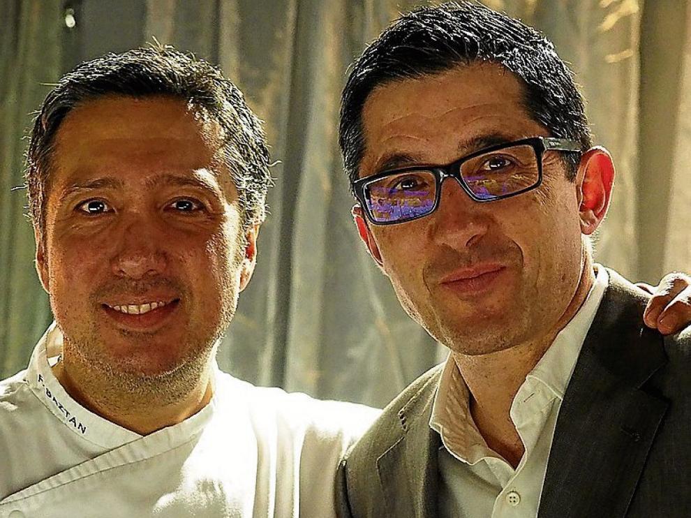 Arriba, José Mari Aizega, director del Basque Culinary Center, con Félix Batzán, chef del restaurante Colette, de Zaragoza.