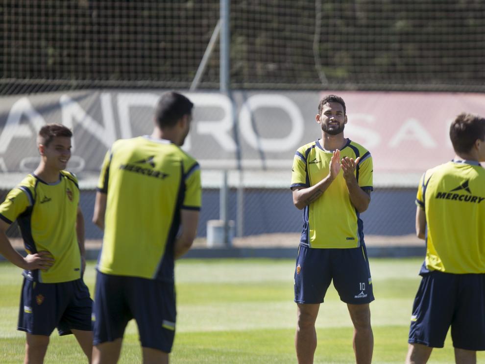 Willian José, durante un entrenamiento del Real Zaragoza