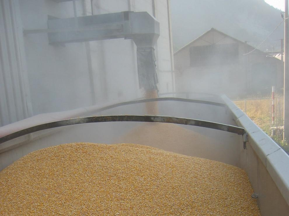 Carga de grano en un silo