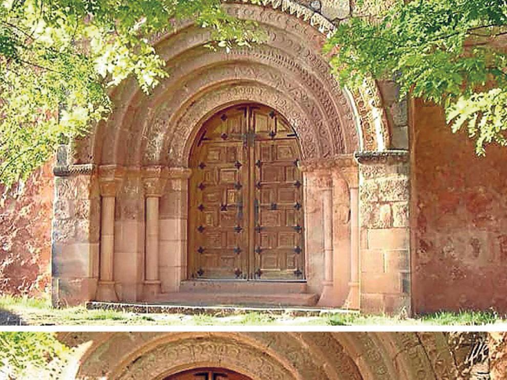 Arriba, la iglesia románica de Ligos antes del robo. Abajo, tras el robo.