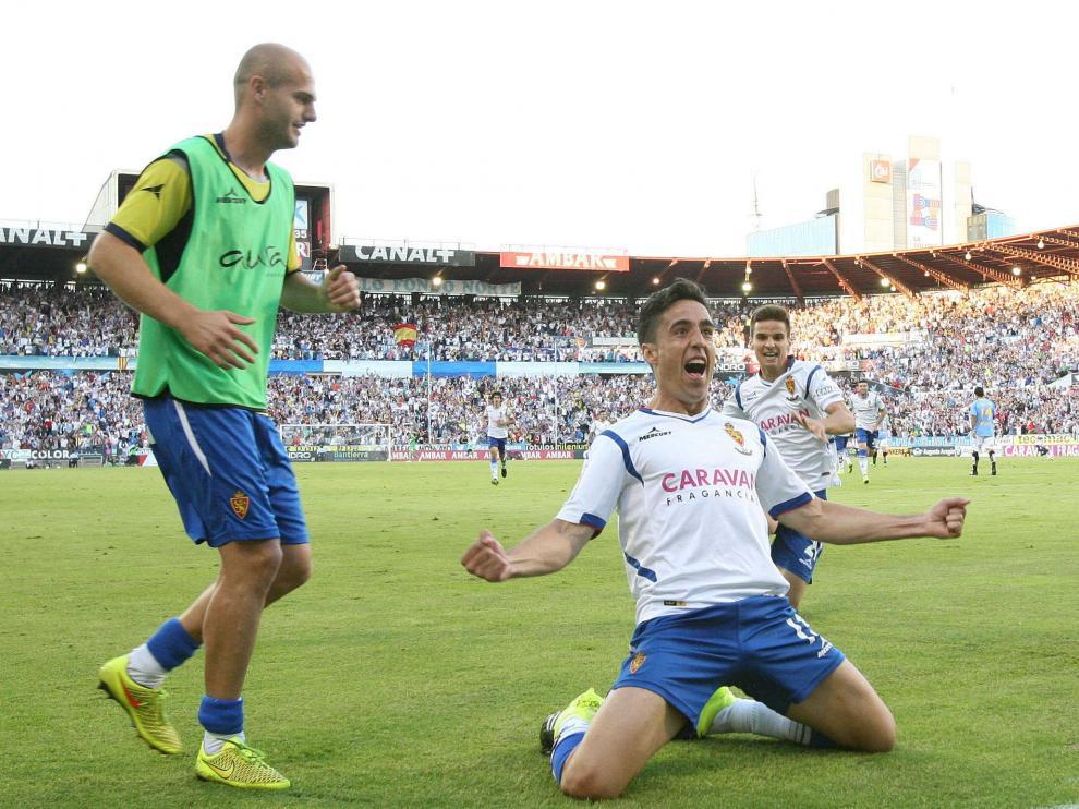 Pedro celebra su gol contra la UD Las Palmas