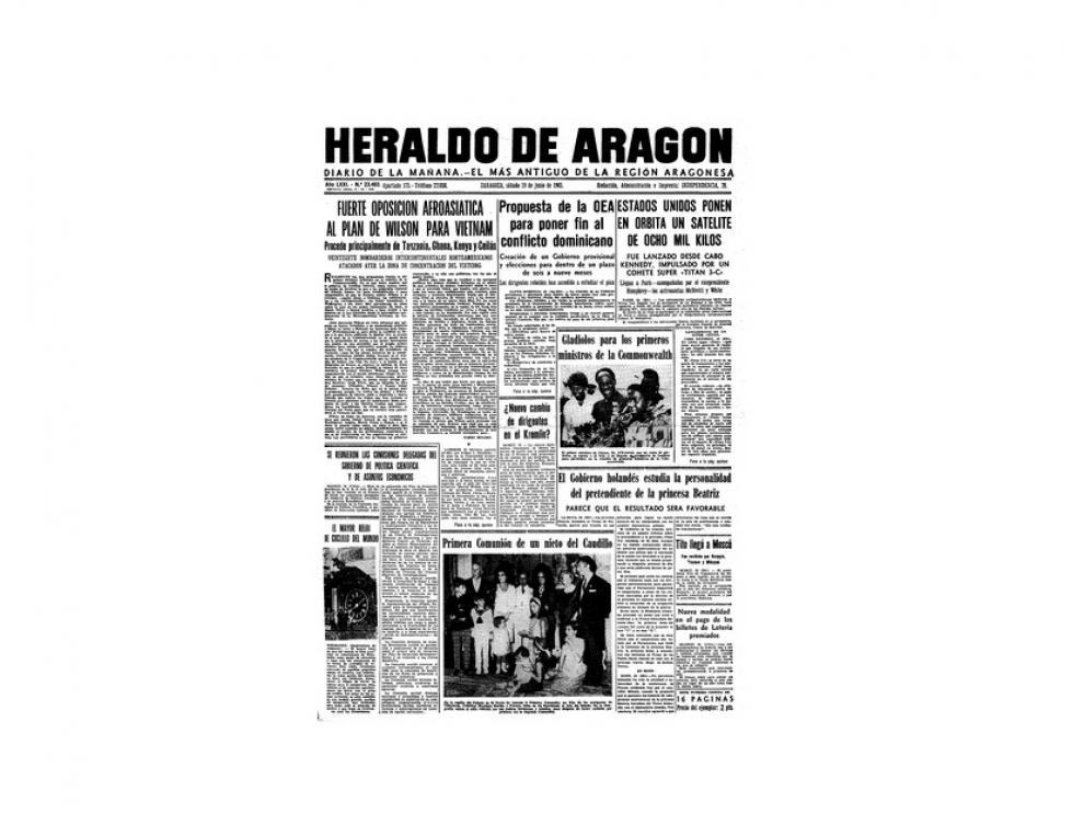 Portada de HERALDO el día 19 de junio de 1965