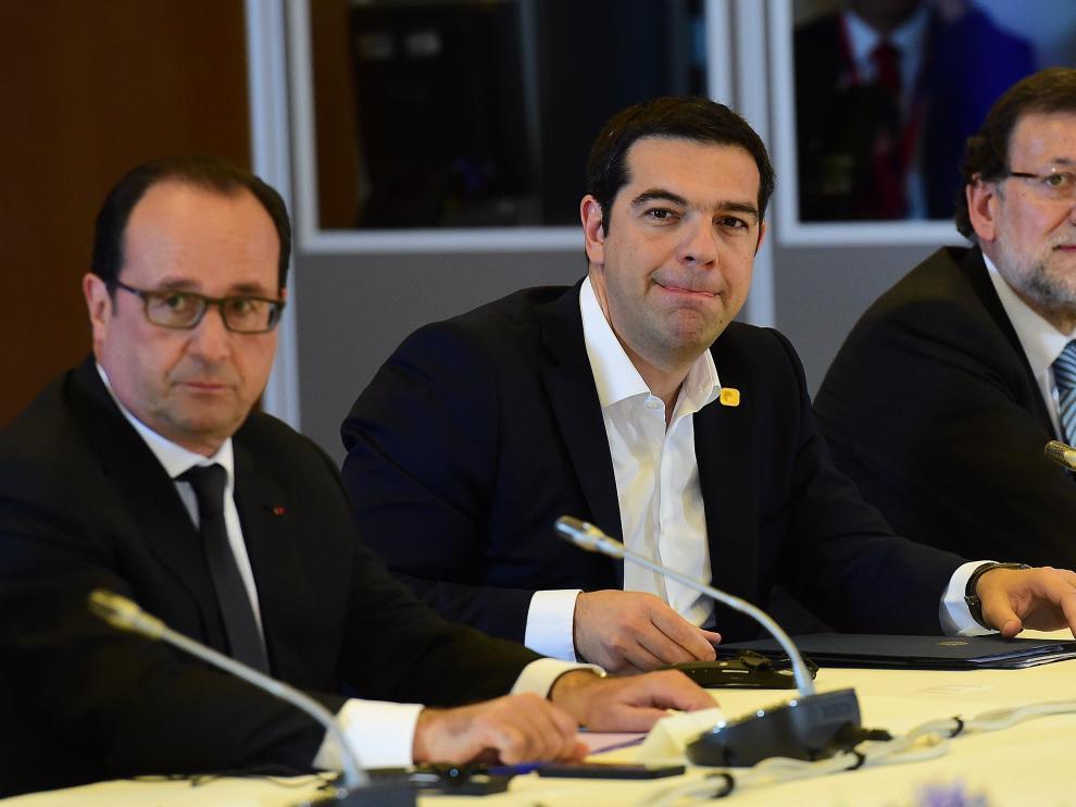 Hollande, Tsipras y Rajoy reunidos en Bruselas.