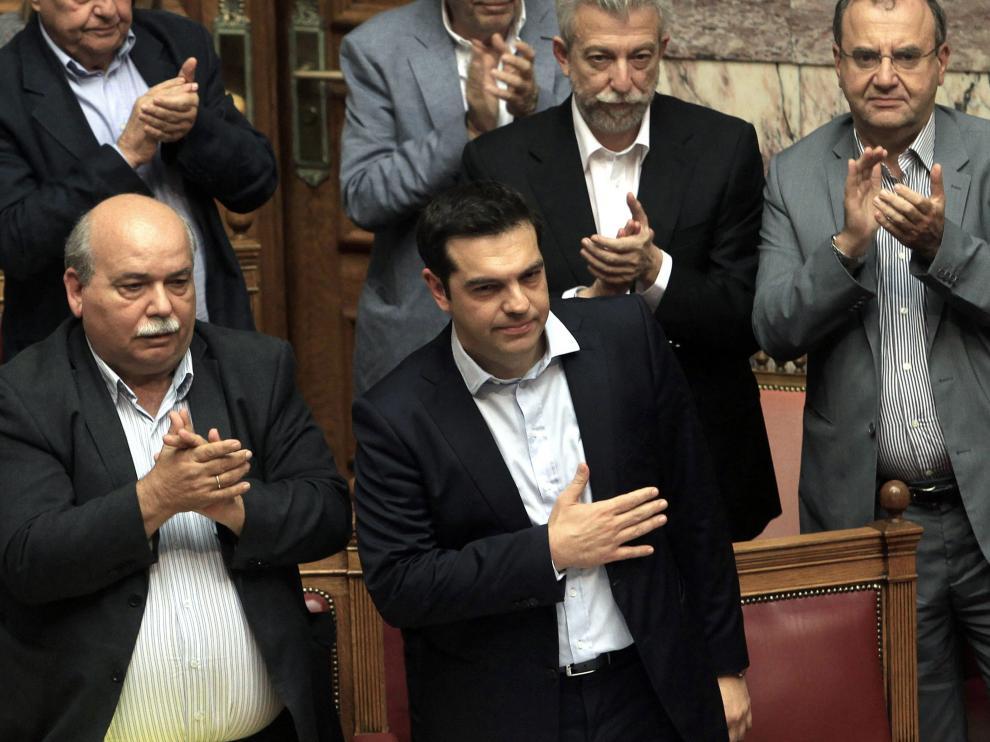Tispras, durante el debate en el Parlamento Griego