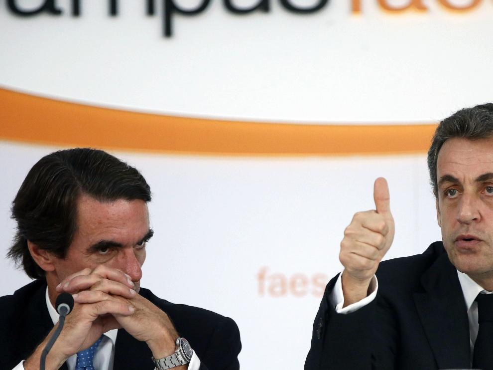 Aznar y Sarkozy, este lunes en la reunión de FAES en Guadarrama (Madrid).