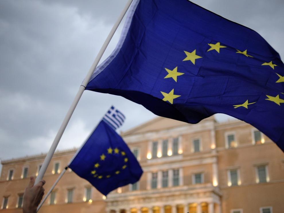 Manifestación a favor del sí en el referendo convocado en Grecia