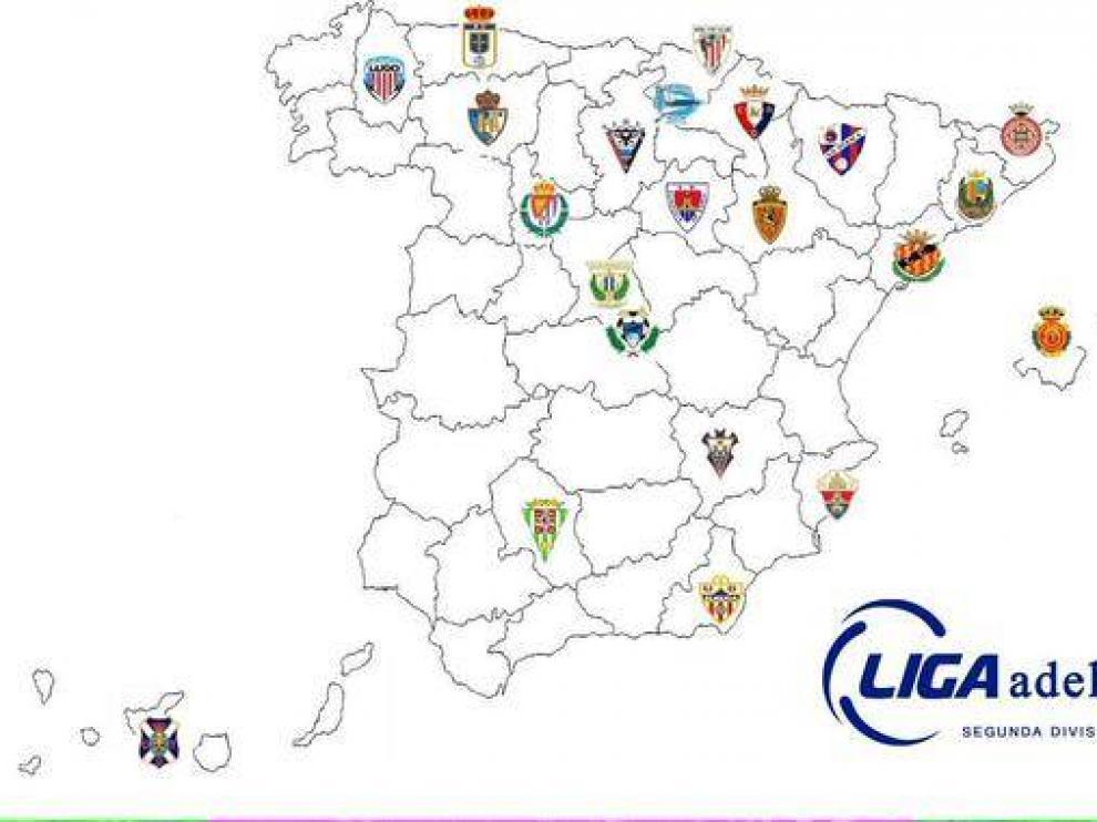Mapa de equipos de la Liga Adelante.